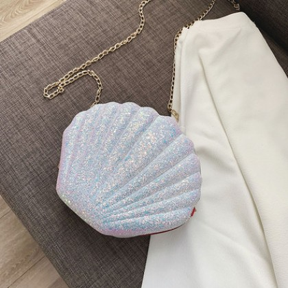 Women Korean Fashion Wild Style Shell Design Glittery Chain Sling Bag