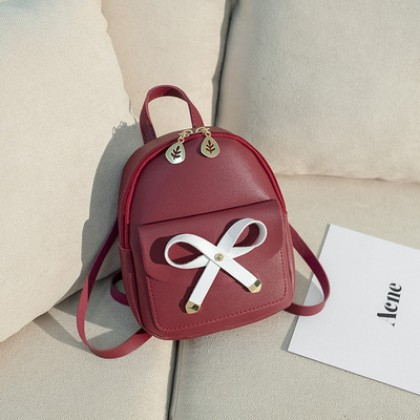 Women Korean Fashion Wild Style Mini Bow Diagonal Hand and Back pack