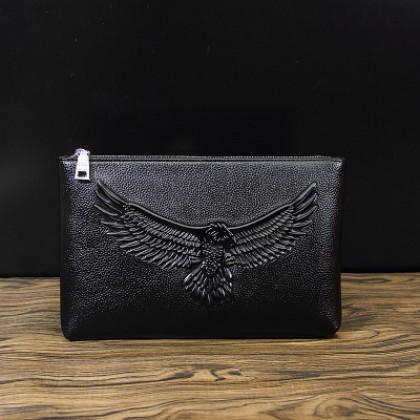 Men Korean Fashion Soft Leather Casual Clip Envelope Handbag