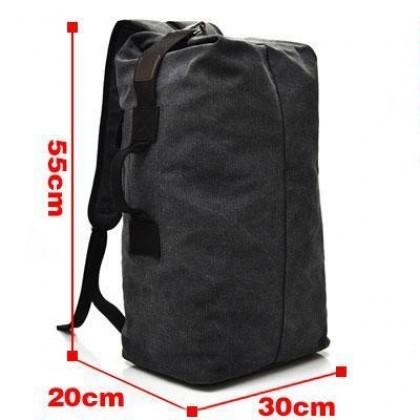 Men Korean Fashion Travel Bucket Canvas Large Capacity Luggage Bag