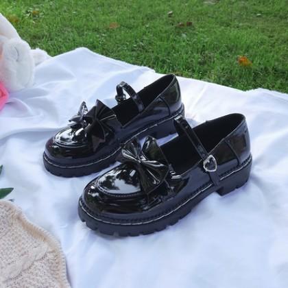 Women Fashion British Flat Bottom Wild Style Lolita Leather Shoes