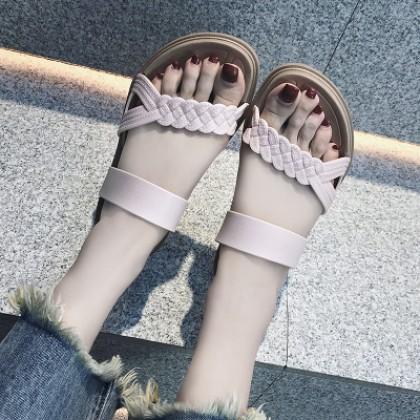 Women Fashion Wild Summer Drag Thick Base Wedge Beach Slippers