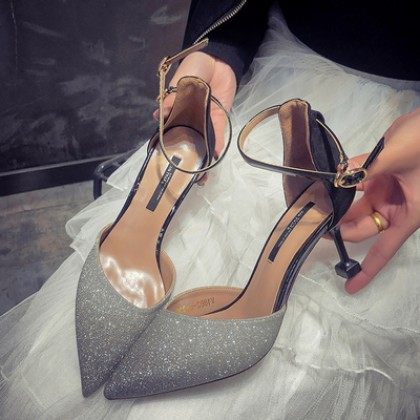 Women Korean Fashion Pointed Half Slippers High Heels Shoes