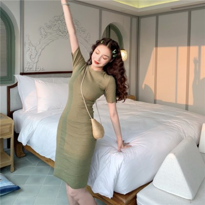 Women Korean Fashion Elegant Vintage Short Sleeve Dress