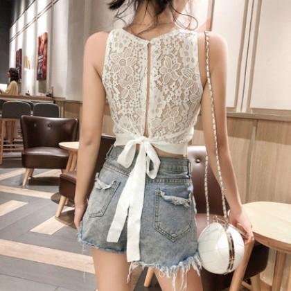 Women Korean Fashion Halter Sleeveless Lace Fairy Tops