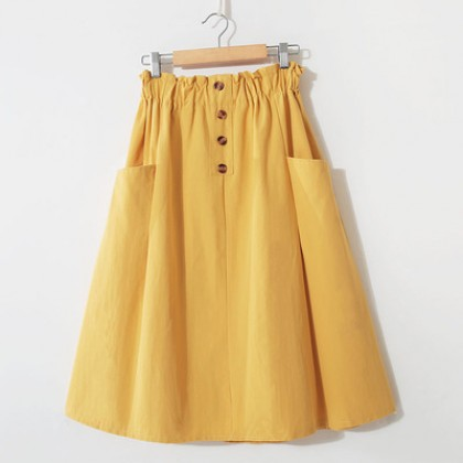 Women Korean Fashion High Waist  Solid Color Pocket Loose Long Skirt