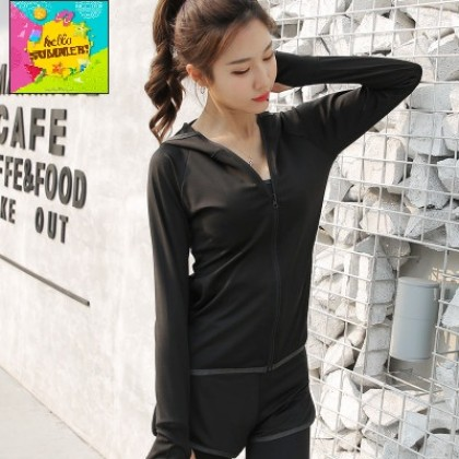 Women Korean Fashion Thin Hooded Fitness Sports Jacket