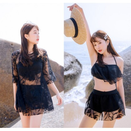 Women Korean Fashion 3 Piece Lace Sexy Swimwear