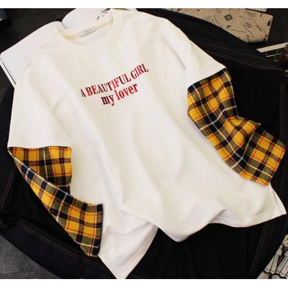 Men Korean Fashion Fake Two Sleeve Casual  Loose Shirt
