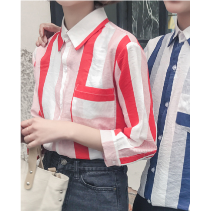 Men Korean Fashion Couples Thin Section Lover's Striped Shirt