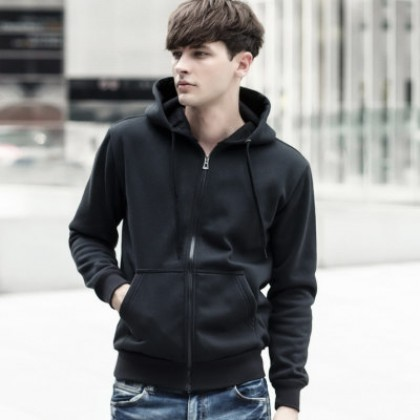 Men Fashion Hooded Zipper Cardigan Black Sports Sweater