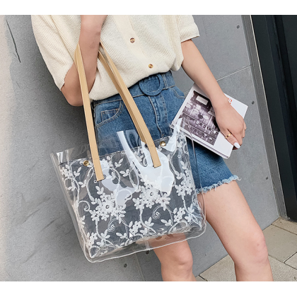 Women Korean Fashion Large Capacity Transparent Jelly Tote Bag