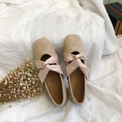 Women Square Head Deep Mouth Retro Bow Ballet Shoes