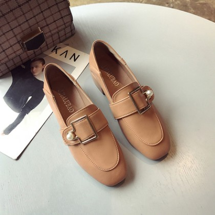 Women Thick Heel British Style Leather Loafers