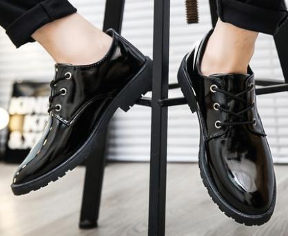 men korean fashion british style casual leather black shoes