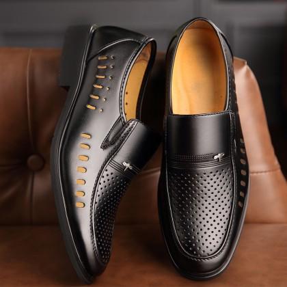 Men Korean Fashion Black Casual Breathable Business Shoes