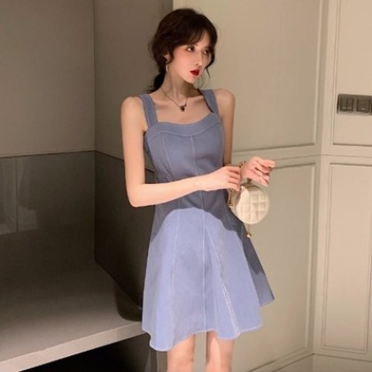 Women Korean Fashion Retro Strap Blue French Pop Skirt Dress