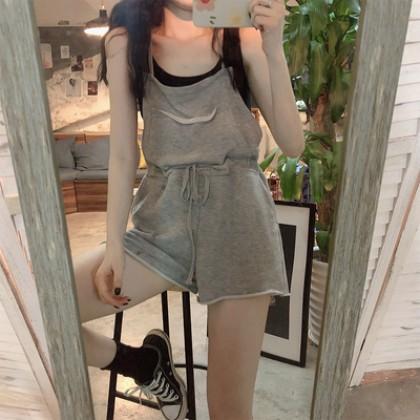 Women Korean Fashion High Waist Wide Leg Short with Pockets Jumpsuit