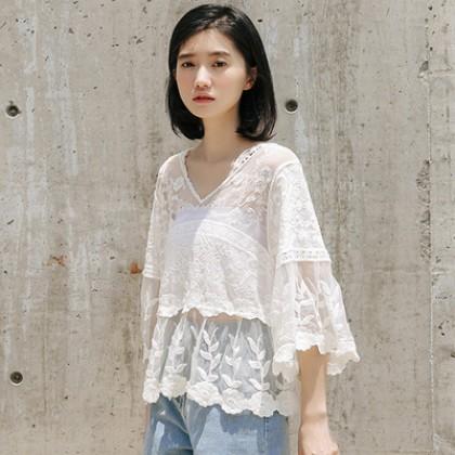 Women Korean Fashion Wild Style V Neck Hollow Lase Top