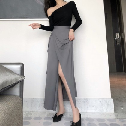 Women Korean Fashion Sexy  Over the Knee High Waist Long Split Skirt
