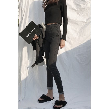 Women Korean Fashion Black Gray High Waist Slim  Pencil Feet Jeans