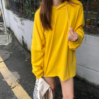 Women Korean Fashion Wild Style Loose Hooded Long Sleeved Thin Sweater