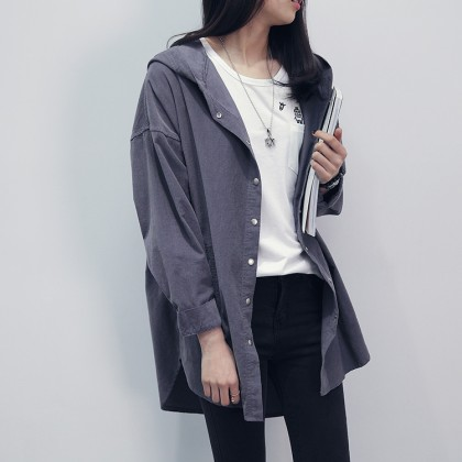 Women  Wild Style Corduroy Thin Long Sleeved Hooded Shirt Jacket