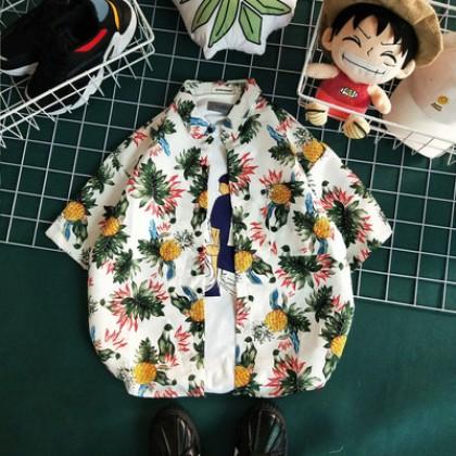 Men Fashion Summer Beach Short Sleeved Loose Retro Hawaiian Thin Shirt