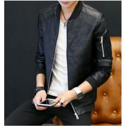 Men Korean Fashion Casual Leather Regular Jacket