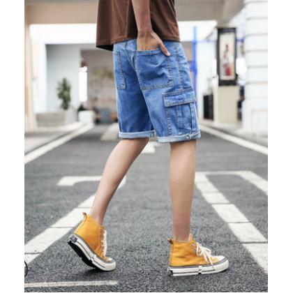 Men Korean Fashion Casual  Denim Straight Wild Style Short