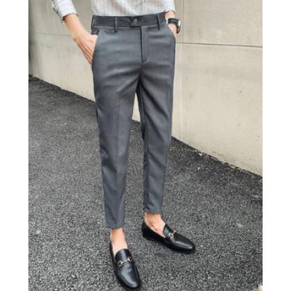 Men Korean Fashion Casual Professional  Straight Slim  Pants