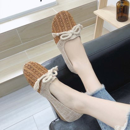 Women Korean Fashion Summer Breathable Lace Casual Pedal Lazy Shoes