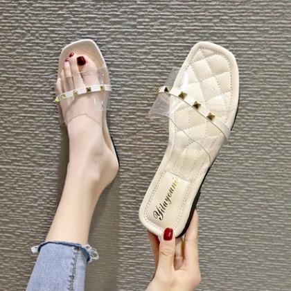 Women Korean Fashion Transparent One Line Strap Rivet Flat Slippers