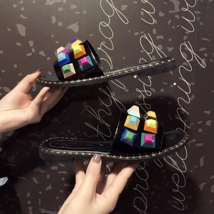 Women Korean Fashion  Flat Bottom Colored Rivet Drag Style Slippers