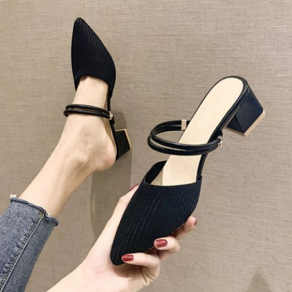 Women  Half Slippers Thick Heel Pointed Tip Casual Shoes