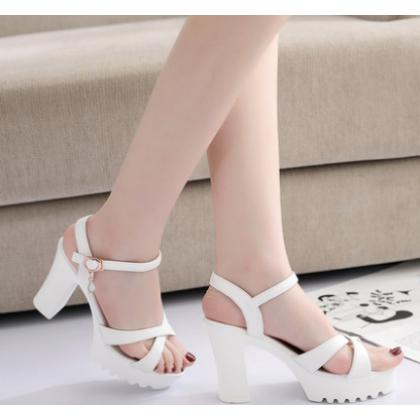Women Summer High Heeled Buckled Open Toe Wild Sandals