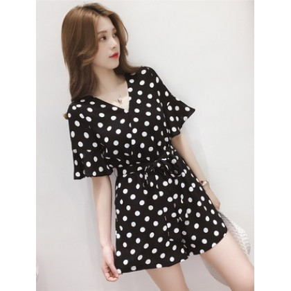Women Korean Fashion Polka Dots Chiffon High Waist Short Jumpsuit