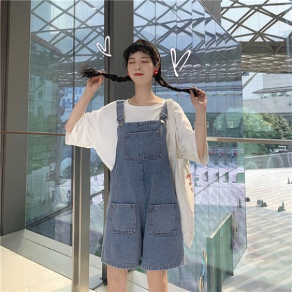 Women Korean Fashion High Waist Denim Loose Wide Leg Jumpsuit