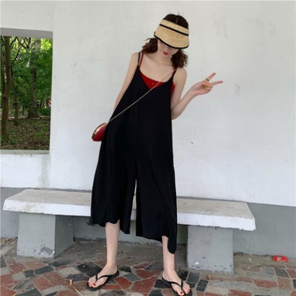 Women Korean Fashion Loose Casual Thin Strap Retro Wide Leg Jumpsuit