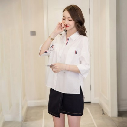 Women Korean Fashion White  Summer Loose Ribbon Casual Shirt