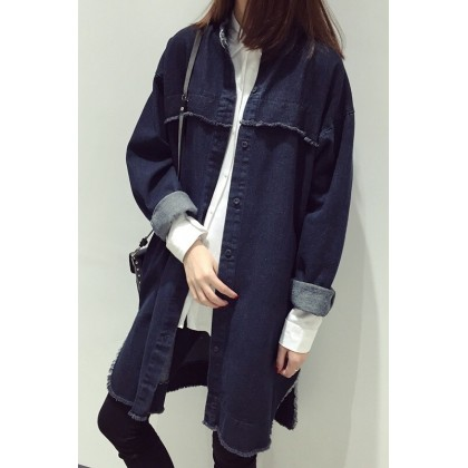 Women Korean Fashion  Long Sleeved Denim Wild Shirt Casual Jacket