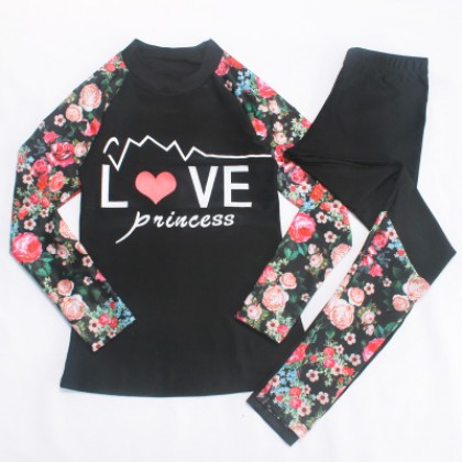 Women Korean Fashion Long Sleeved Quick Dry Surfing Floral Swimwear