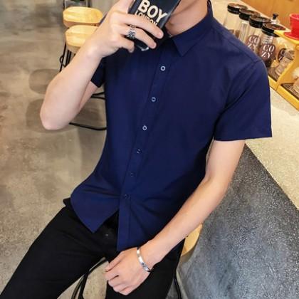 Men Korean Fashion Youth Style Short Sleeved Slim Business Shirt