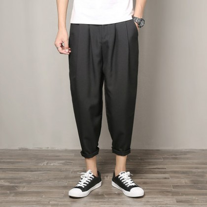 Men Korean Fashion Street Style Loose Straight Casual Wide Leg Trousers