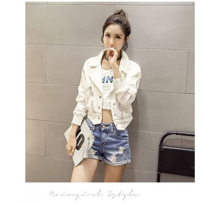 Women Korean Fashion Long Sleeved Small Short Denim Jacket