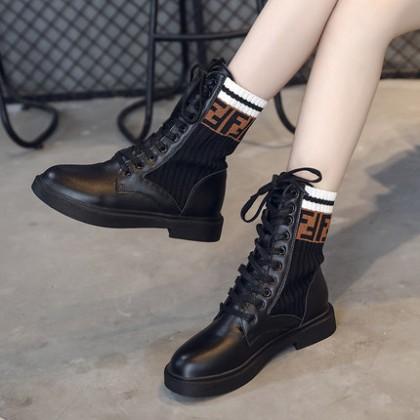 Women Korean Trend New British Wild Lace Up High Top Martin Boots