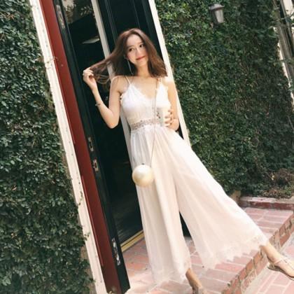 Women White Fairy Lace Sexy Strap Long Pants Jumpsuit