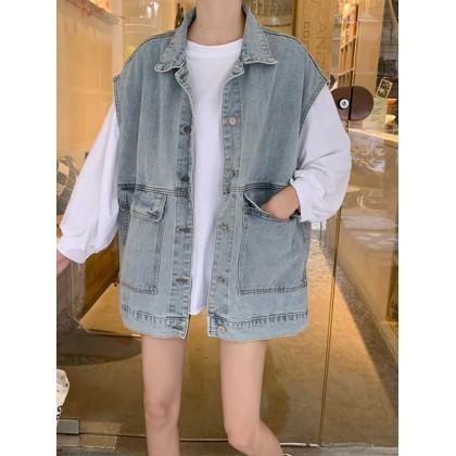 Women Korean Fashion Loose Vest Trendy Blazer Denim Jacket
