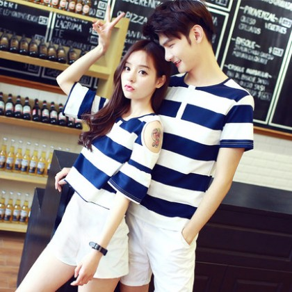 Men Cute Stripes Fashion Terno Shorts Sweet Shirt Couple