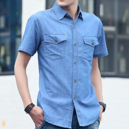 Men Casual Short Sleeves Washed Denim Plus Size Shirts